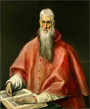 """Эль Греко """"Святой Иероним"""". Св. Иероним перевел Библию на латынь и является покровителем переводчиков"""